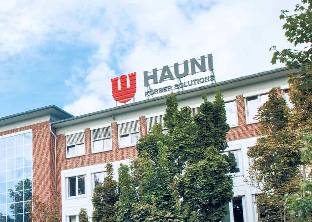 The picture shows the Hauni Maschinenbau GmbH with its main building at the Hamburg Bergedorf headquarters.